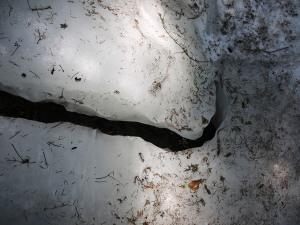 ice crevasse on the trail